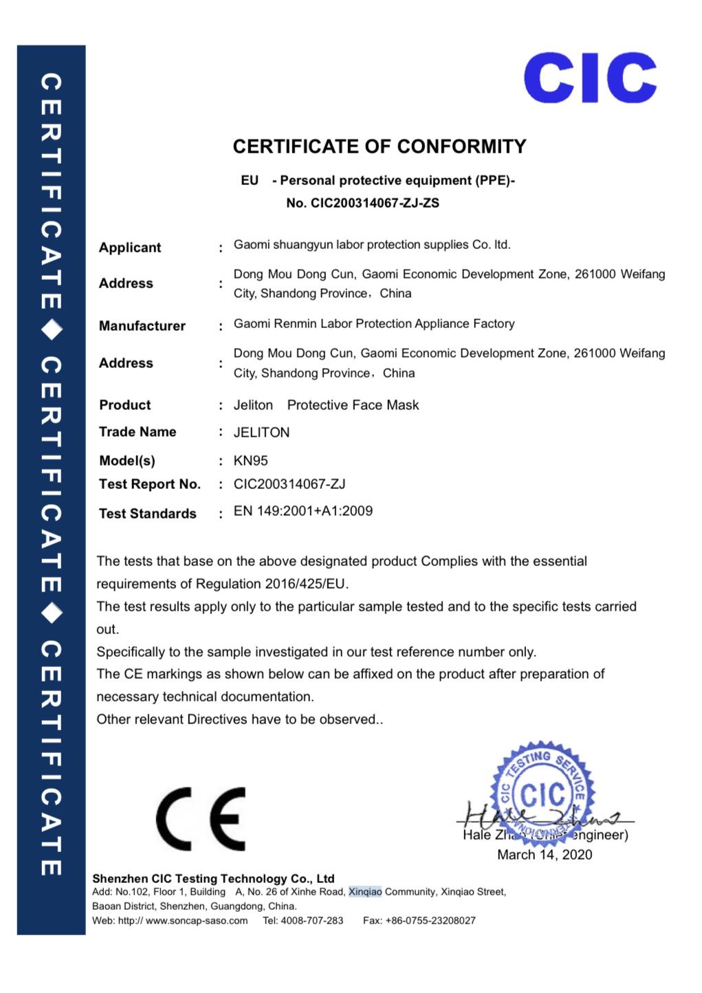 Respiratorius FFP2 – 10 vnt.